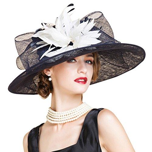 HomArt Women's Wide Brim Church Kentucky Derby Cap British Tea Party Wedding Hat, Dark Navy White by HomArt