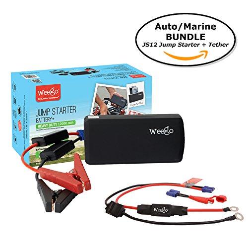 Cranking Amps Marine (Weego JS12 Jump Starter AUTO/MARINE BUNDLE includes Jump Starter JS12 1400 Peak and 400 Cranking Amps Plus Weego Jump and Charge 2-in-1 Auto/Marine Tether/Harness)