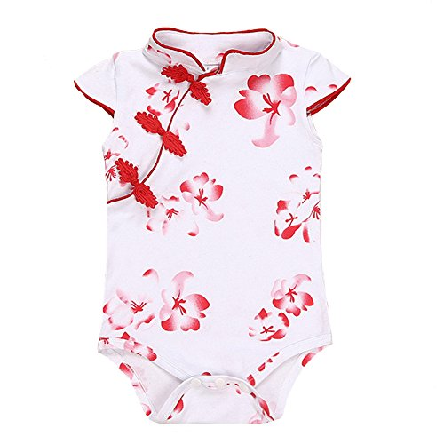 Fairy Baby Baby Girl Cheongsam Dress Short Sleeve Formal Qipao Bodysuit,9-12M,Red Flower