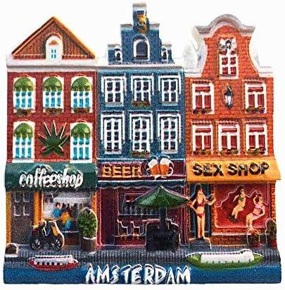 Amsterdam Hollande 3D Feuille R/éfrig/érateur Aimant Souvenirs R/ésine Magn/étique D/écoration De Cuisine /À La Maison Pays-Bas Aimant Collection Cadeau