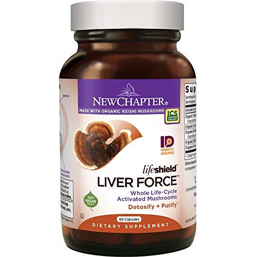 New Chapter Reishi Mushroom - LifeShield Liver Force for Liver Support  with Turkey Tail + Organic Reishi Mushroom + Vegan + Non-GMO Ingredients - 60 ct Vegan Mushrooms