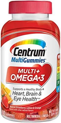 Centrum MultiGummies Multi + Omega-3 (100 Count, Natural Strawberry, Lemon, Orange Flavors) Multivitamin / Multimineral Supplement Gummy