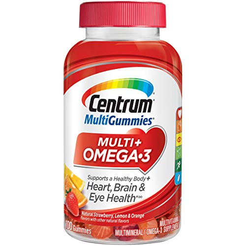 Centrum MultiGummies Multi + Omega-3 (100 Count, Natural Strawberry, Lemon, Orange Flavors) Multivitamin / Multimineral Supplement Gummy (Best Brain Vitamins For Adults)