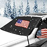 Big Hippo American Flag Windshield Snow Cover with Side Mirror Snow Covers for Ice Snow Frost Full Protection - Car Snow Cover Fits Most Fit Car, Truck, SUV and Van (64.17'x47.24')