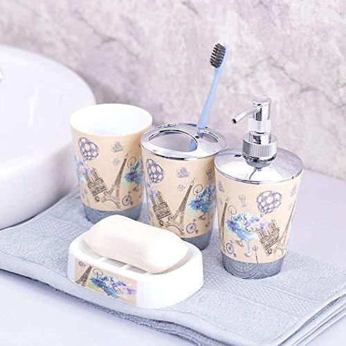 Betterhomeplus Bathroom Accessories Set of 4pcs Paris Eiffel Tower France Audrey Hepburn Portrait World Map Lotion Dispenser Tumbler Soap Dish Bath Decoration (003)