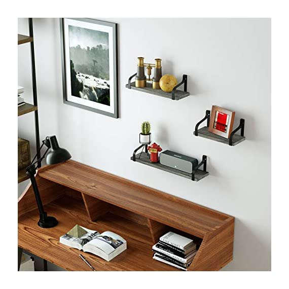 Love-KANKEI Floating Shelves Wall Mounted Rustic Wood Wall Shelves Set of 3 for Bedroom Living Room Bathroom Kitchen Weathered Grey - SIMPLE DISPLAY SHELVES - Simple design floating shelves constructed of solid Paulownia wood boards and powder coated metal brackets, perfect for displaying and holding collectibles, small plants, stuffed animals and more FUNCTIONAL STORAGE SHELVES - Useful for adding additional shelving space to store and organize small items or clutter in bedroom, bathroom, kitchen and more, great for clearing up the counter RUSTIC WALL SHELVES - Features rustic style with weathered grey finish wood and industrial metal brackets, decorative and great addition or accent to any wall space - wall-shelves, living-room-furniture, living-room - 51cq1PC6SBL. SS570  -