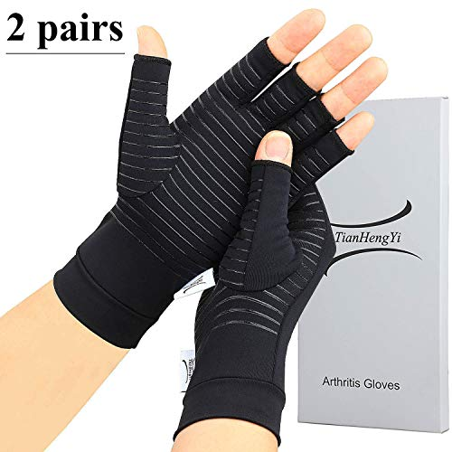 affordable 2 Pairs Arthritis Gloves,Copper Compression Arthritis Gloves,Fingerless Hand Gloves for Women and Men,Carpal Tunnel, RSI Osteoarthritis,Computer Typing, and Everyday Support (Black, Medium)