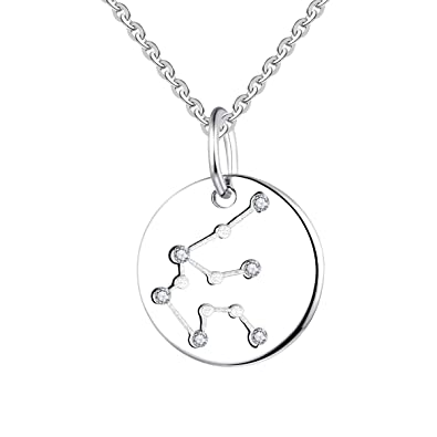 81af151c7df8c2 YL Women's Aquarius Constellation Necklace Sterling Silver Zodiac Pendant  Astrology Coin Horoscope Jewelry