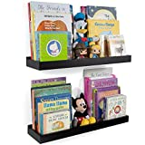 floating shelves ideas Wallniture Nursery Room Wall Shelf - Floating Book Shelves Decor for Kids Room - 23 Inch Picture Ledge Tray Toy Storage Display Black Set of 2