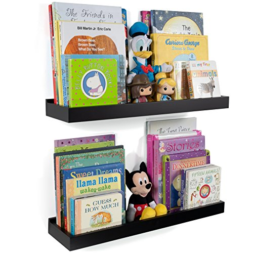 Wallniture Nursery Room Wall Shelf - Floating Book Shelves Decor for Kids Room - 23 Inch Picture Ledge Tray Toy Storage Display Black Set of 2 -