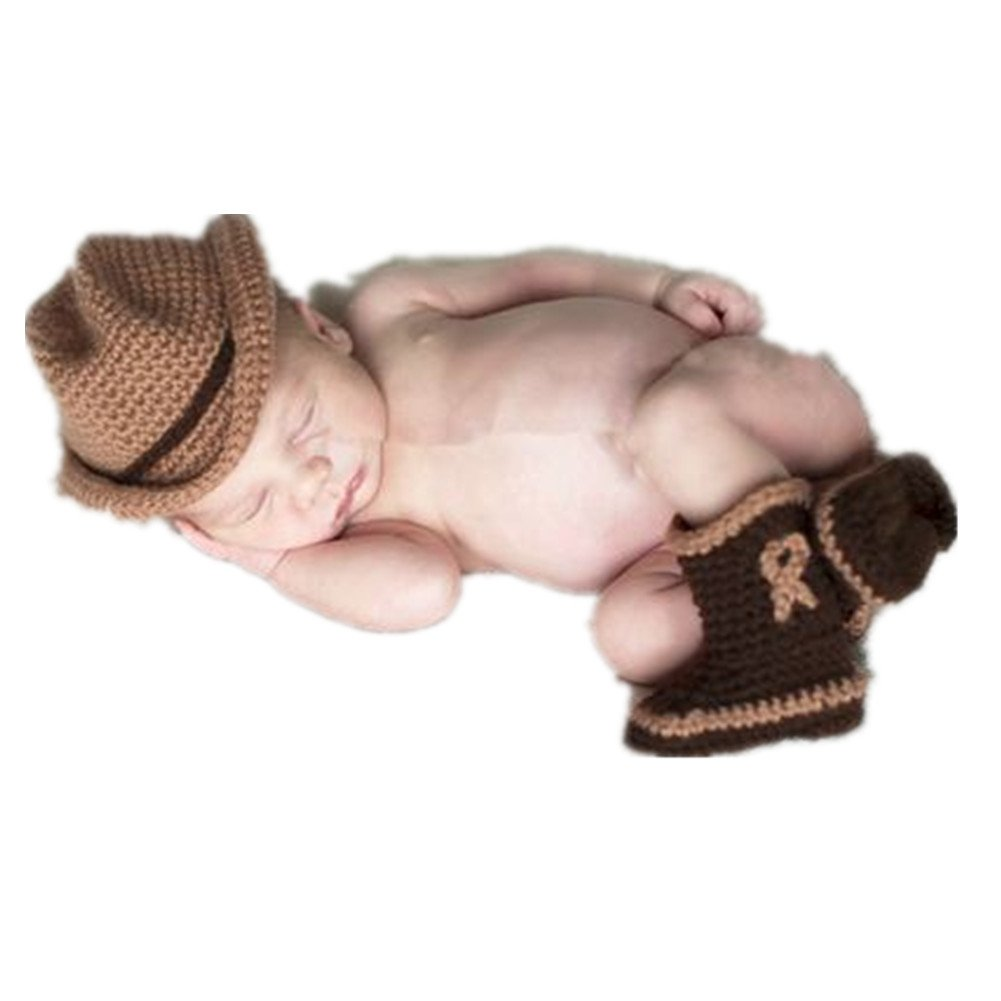 Nodykka Newborn Baby Photography Outfits, Photo Shoot Knitted Hat Boots Props CA-NDK053BROWN