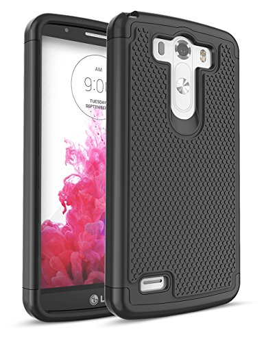 LG G3 Case, TILL Shock Absorbing Hybrid Dual-Layer Defender Rugged Slim Case Soft Interior Silicone Bumper Hard Solid PC Back Cover Shell For LG G3 Phone AT&T T-mobile Sprint Verizon Unlocked [Black]
