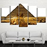 Art Work for Home Walls Egypt.Sphinx and Pyramid Painting Canvas Aincient Africa Pictures 5 Panel Artwork Modern Home Decor for Living room Framed Gallery-wrapped Stretched Ready to Hang(60''Wx40''H