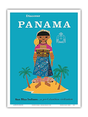 Discover Panama - San Blas Indians...a Pre-Columbian Civilization - Vintage World Travel Poster c.1960 - Master Art Print - 9in x 12in