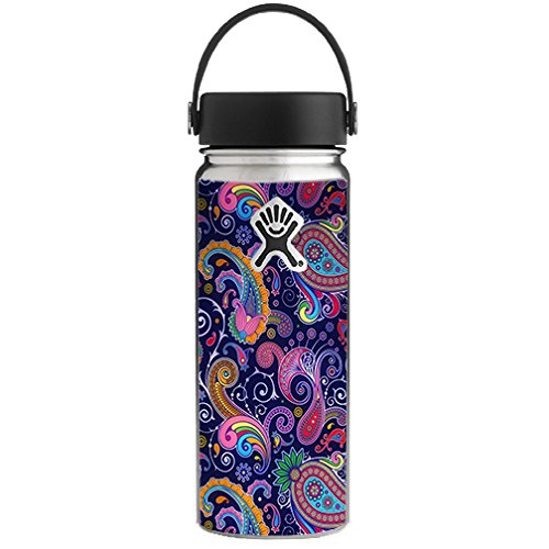 (Skin Decal Vinyl Wrap for Hydro Flask 18 oz Wide Mouth / Purple Paisley )