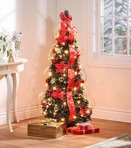 (4 ft Christmas Spruce Prelit Poinsettia Pull Up Tree)