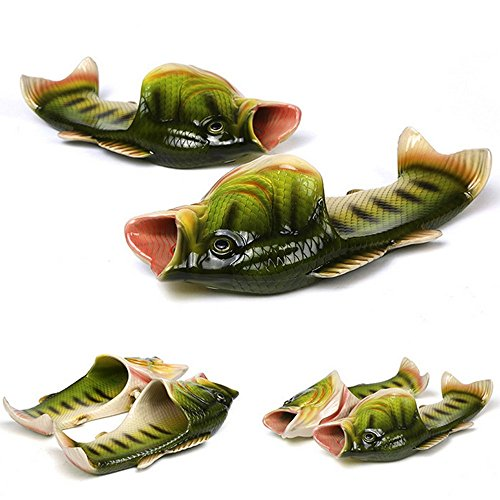 3 colors Fish slippers Beach Shoes Pool Non-slip Sandals Creative Hand painted Fish Slippers Men and Women Casual Shoe Beach and home use (green, woman (11-12) / Male (10-11)) ()