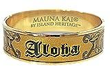 HAWAIIAN ALOHA HEIRLOOM TRADITIONAL STYLE ENGRAVED GOLD SLIP ON BANGLE BRACELET