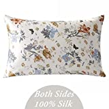 ZIMASILK 100% Mulberry Silk Pillowcase for Hair and Skin Health, Both Side Silk,Floral Print, 1pc (King 20''x36, pattern2),Gift Packed