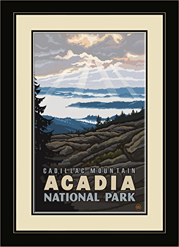 (Northwest Art Mall PAL-1656 MFGDM Cadillac Mountain Acadia National Park Framed Wall Art by Artist Paul A. Lanquist, 13 by 16-Inch)