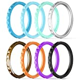 ThunderFit Thin and Stackable Silicone Rings, 8 Pack & Singles Silicone Wedding Bands for Women - Diamond Pattern