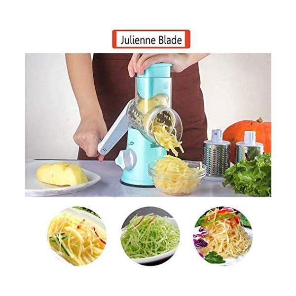 Azornic Mandolina affettatrice per verdure, frutta, verdura, formaggio, formata da grattugia rotante con 3 lame in… 3