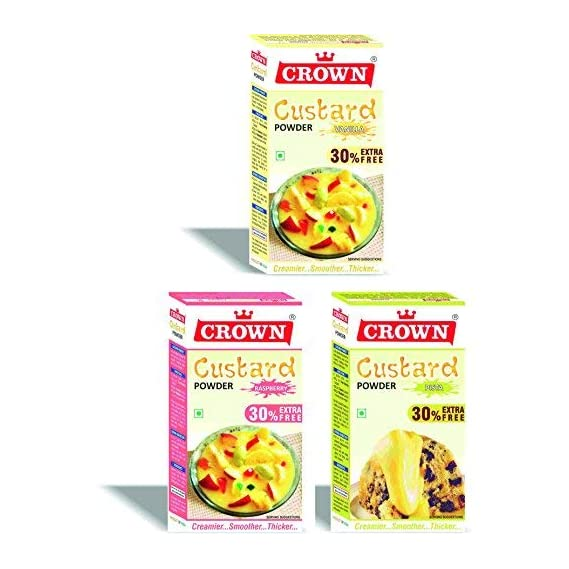 CROWN Custard Powder (Vanilla, Raspberry, Pista) 130g x 3 Flavors Pack
