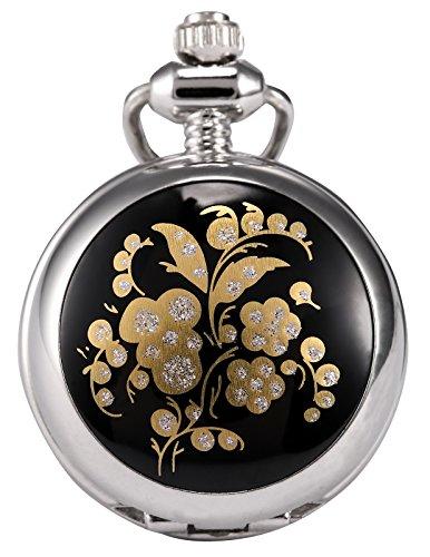 AMPM24 Women Lady Clear Crystal Flower Dangle Pendant Pocket Quartz Watch + Chain WPK065