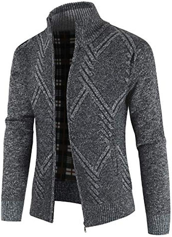 Dicker Mann Kleidung Pullover Męskie Cardigan Slim Fit Reißverschluss Strickwaren Warm Herbst Winter Casual Cardigan Männlich: Sport & Freizeit