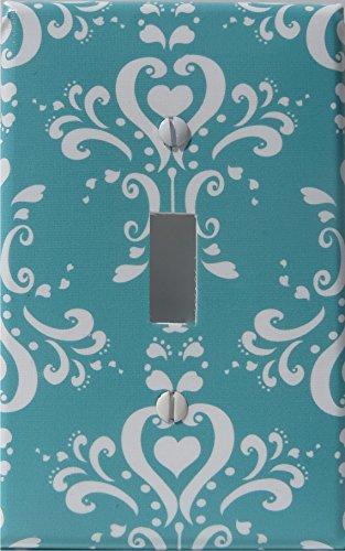 Aqua Damask Light Switch Plate / Damask with Hearts Nursery Wall Decor (Single Toggle Light Switch Plate)