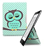 kwmobile Cover case for Kobo Aura ONE with stand - Ultra slim case made of synthetic leather Sleeping Owl in turquoise brown mint