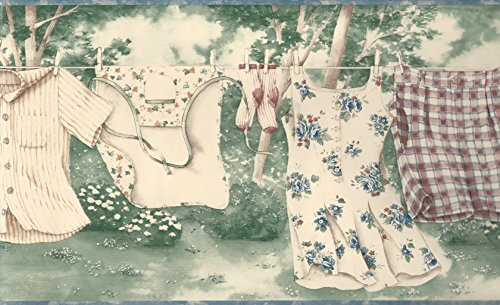 Wallpaper Border Laundry Room Country Clothesline Watercolor Style Blue Green