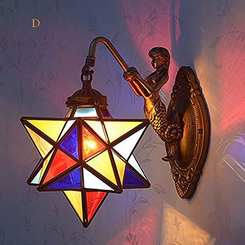 T-ZBDZ Multi-Colored Glass Starlight 1 lamp Indoor Brass Wall lamp Candlestick Art, D