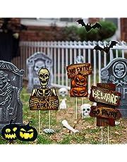 Halloween-decoratie, 3 stuks tuinbordjes, palen, waarschuwing, buitendecoratie, gazon, rekwisieten, geen betreden van de schedel, pompoen, borden, griezelige kaart voor vampierhema, tuin, party, bar