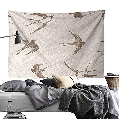 Maureen Austin Tapestry for Home Modern Decor,Birds,Flying Bird Swallow Vintage Design Illustration Springtime Wildlife Classic Art,Beige Brown Wall Hanging for Dorm Living Room Bedroom50 x60