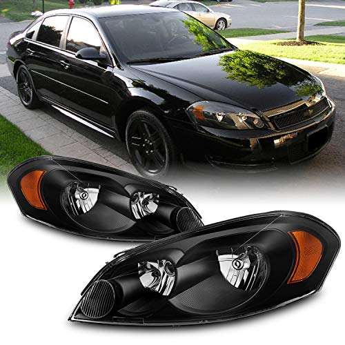 For Chevy Impala/Monte Carlo OE Replacement Black Bezel Headlights Driver/Passenger Head Lamps Pair New
