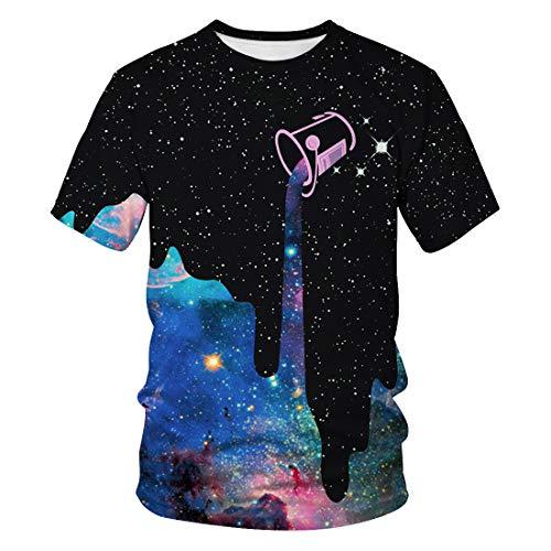Auremore Unisex 3D Print T-Shirt Graphic Tee Crewneck Short Sleeve T-Shirts for Men Women Tunic Tops Galaxy Paint XL