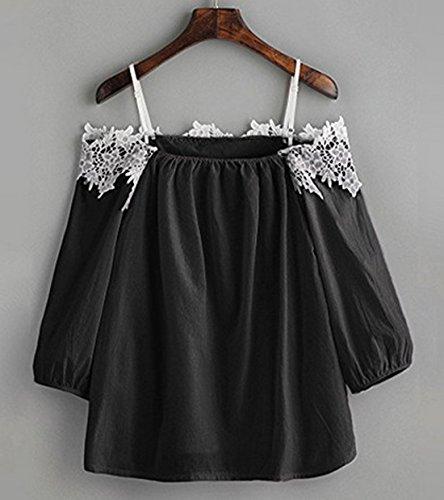 Nero Maniche Tops Scollo Sexy Blouse 3 Tumblr Barca Camicie Bluse Pizzo Up Donna Cucitura Pin Moda 4 A wBqTqHF