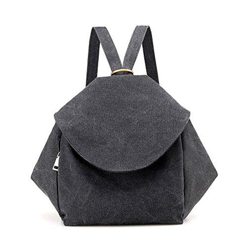 Price comparison product image MaxFox Double Shoulder Laptop Backpack Students Leisure Canvas Pocket Satchel Bag for School Book (Black)