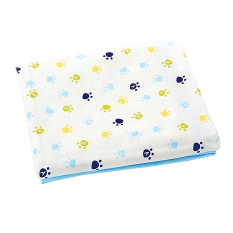 Yeahibaby Bebé recién nacido Toalla de baño infantil Cuatro capas Impresión Tamaño de la gasa del bebé M (azul)