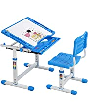 Kids Table and Chair Set, Children Desk Height Adjustable Study Desk with Drawer