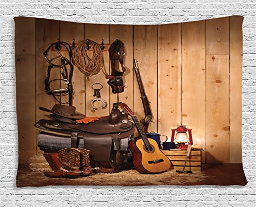 Ambesonne Western Decor Tapestry by, American Texas Style Country Music Guitar Cowboy Boots USA Folk Culture, Wall Hanging for Bedroom Living Room Dorm, 80 W X 60 L Inches, Sand Brown Chocolate