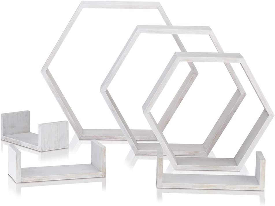 Rustic Wood 3 Hexagon Boxes and 3 Small Shelves for Free Grouping Carbonized, 12x12 inch Wall Shelf Set of 6