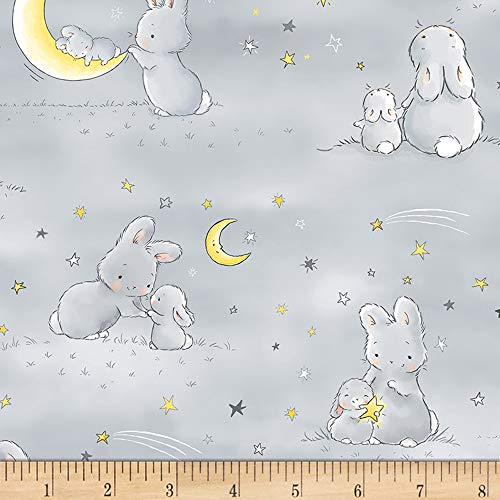 Timeless Treasures Star Flannel Bunnies and Little Ones with Moons Grey Fabric by The Yard