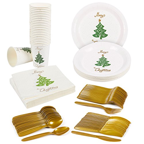 Disposable Dinnerware Set - Serves 24 - Merry Christmas and Christmas Tree Party Supplies - Includes Plastic Knives, Spoons, Forks, Paper Plates, Napkins, - Christmas Supplies Party