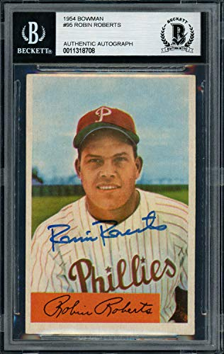 (Robin Roberts Autographed Signed Memorabilia 1954 Bowman Card #95 Philadelphia Phillies - Beckett Authentic)