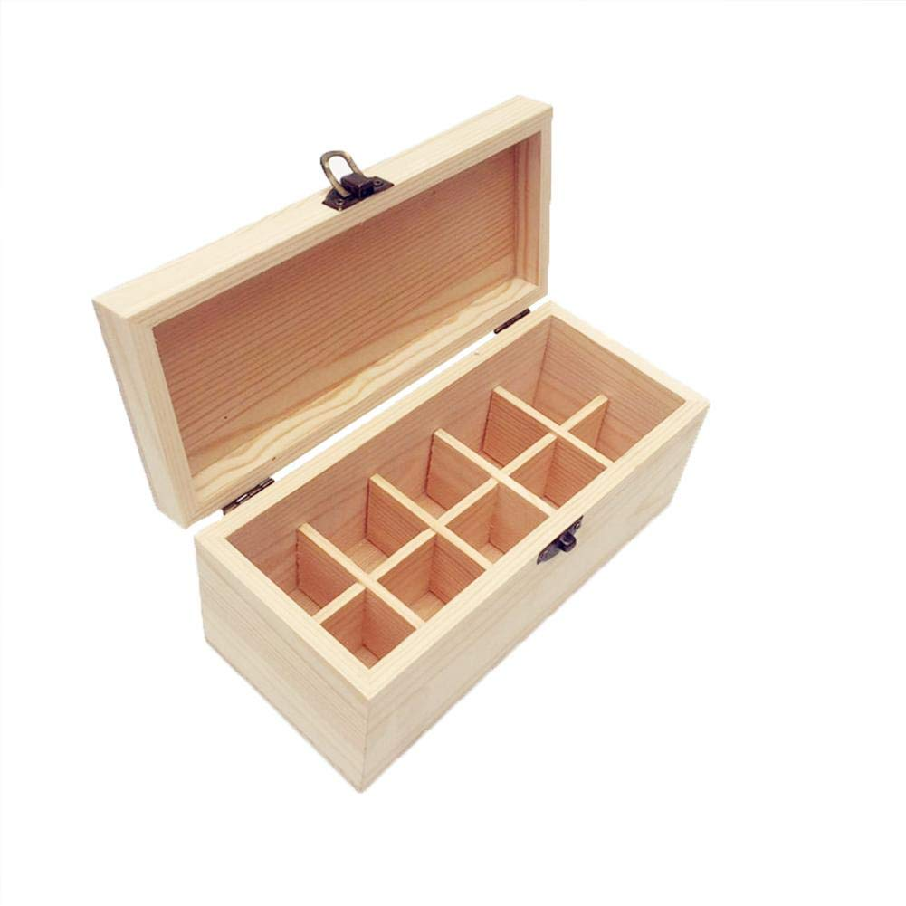 Essential Oils Storage Wooden Box - with 10 Slots for 30ml Bottles, Essential Oils Wooden Case Perfect for Display & Presentation by Wind-Susu