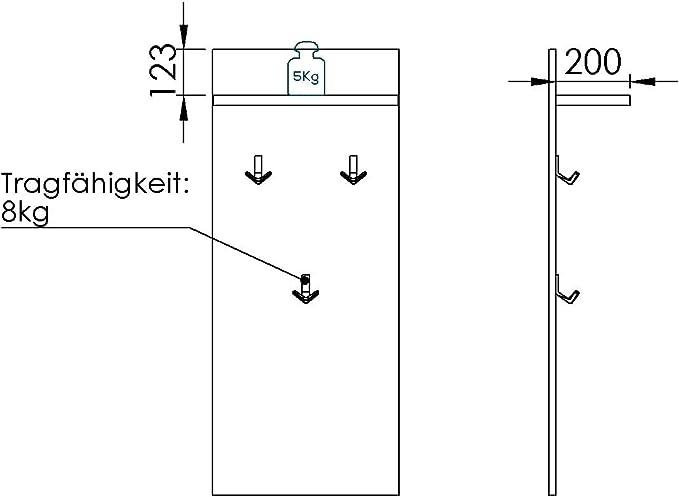 MAJA M/öbel Check Pannello Appendiabiti 50,0 x 120,0 x 21,8 cm Materiale a Base di Legno Rovere Riviera