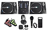 2 Stanton STR8.150 M2 Direct Drive DJ Turntables+Controller+Mixer+Headphones+Mic