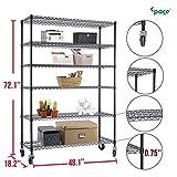 Gracelove 72''(H) x 48''(L) x 18''(D) Chrome Commercial 6 Layer Shelf Adjustable Steel Wire Metal Shelving Rack (Black)